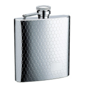 SAVAGE 240ml Hip Flask with Mat Engraved Design 18/8 Stainless Steel Mirror Finished