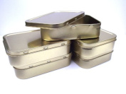 5 x 60ml Gold Airtight Tobacco/Survival Storage Tins With Seal