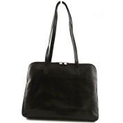 Made In Italy Genuine Leather Shoulder Bag 3 Compartments Colour Black Tuscan Leather - Woman Bag
