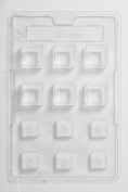 Square With Diagonal Lined Lid Chocolate Mould 12 Cavity x 10
