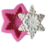 MOLLYSKY Big Snowflake Silicone Cake Mould Soap Moulds Cake DIY Decoeating Tools,Pink