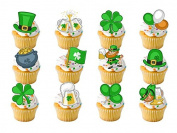 24 x St Patricks Day Irish Ireland Flag Stand Up Standups (12 designs new) Fairy Muffin Cup Cake Toppers Decoration Edible Rice Wafer Paper