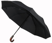Fully Automatic 3 Folding 10Ribs Wood Crook Handle Compact Travel Umbrella For Mens UV Protection Strong Waterproof & Windproof
