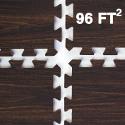 Clevr Interlocking EVA Gym Foam Floor Mat Tiles (60cm x 60cm ) | Protective Flooring for Gym Equipment | Includes Tile Borders | Light Oak or Dark Oak Pattern Style | 2.2sqm / 8.9sqm