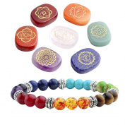 JSDDE 7 Chakra Reiki Healing Crystals Yoga Balance Holistic Health Care Engraved Chakra Symbols Palm Stones W/ 7 Chakra Healing Crystal Bracelet