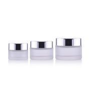 2PCS 15ML/50ML Empty Reusable Frosted Glass Face Cream Lip Balm Cosmetics Storage Sample Container Bottle Pot Jar Travel Packing Bottle Container Holder