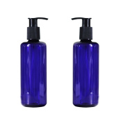 300ml/10OZ Refillable Empty Blue Pump Bottles Jars with Pump Tops for Makeup Cosmetic Bath Shower Toiletries Liquid Containers Leak Proof Portable Travel Accessories