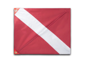 Premium Quality Dive Flag (50cm X 60cm ) with Removable Stiffening Pole Easy to Use Diver Down Red and White Boat Flag