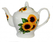CROWN ROUNDED Bone China 1420ml/ 6 CUP Teapot - SUNFLOWER Kirsty Jayne China- Hand decorated in the Potteries, Staffordshire, England.