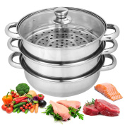 25cm Steamer Cooker Pot Set Pan Cook Healthy Food Preparation Glass Lids 3 Tier Layer Stainless Steel Home Kitchen