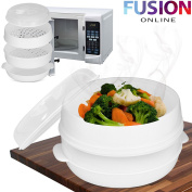 2 TIER MICROWAVE STEAMER VEGETABLE CHICKEN RICE FISH STEAMER POT BOWL BABY FOOD STEAMER WITH LID