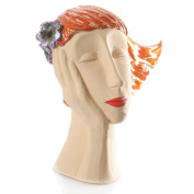 Retro Deco Head Sculpture with Flowers (Ginger)   Individually Hand Sculptured Room Decor