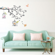 Decowall, DW-1510, Birds on Tree Branch with Bird Cages peel & stick wall decals stickers