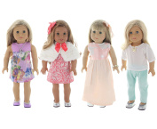 Holiday 4 Outfit Package, Doll Clothes Set, fits American Girl Dolls, or an 46cm Doll - by PZAS Toys