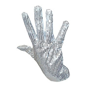 Silver Sequin 'King of Pop' Fancy Dress Gloves