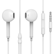 Premium Wired Earphones with Microphone and Volume Control 3.5mm for Iphone 5/5s 6/6S/7/7Plus (White) Earbuds Earphones with Mic and Inline Remote Control for Apple iPhone iPad for for for for for for for for for Samsung Galaxy and More