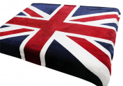 Brithish Union Jack Flag Throw, Luxurious Soft Plush Fleece Throw Blanket Bedspread 150cm x 200cm for Bed Couch Sofa, Machine Washable