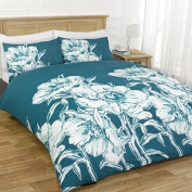 AMELIA FLORAL FLOWERS TEAL DUVET SET QUILT COVER PILLOWCASE BEDDING 3 SIZES