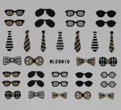 Effect Beauty - 3D Nail Stickers - Glitter Ties & Glasses - BLE981D by Effect Beauty