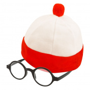 Kid's Large Red & White Striped Fancy Dress Hat & Glasses