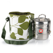 Thermally Insulated Green Leaf Indian Tiffin Bag Carrier Including 3-Tier Tiffin