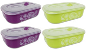 Food Containers Storage Container Microwave Containers Rectangular Shape - 1.8 Litres - Set of 4