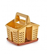 4 Compartment Plastic Sink Tidy Filter Cutlery Drainer Caddy with Handle & Tray
