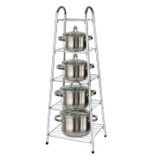 Top Home Solutions® 90cm High 5 Tier Chrome Kitchen Pan Stand Pot Saucepan Storage Organiser Unit Rack Holder
