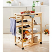 CUISINA KITCHEN TROLLEY WITH DRAWER SHELVE WINE RACK FRUIT VEG BASKET CART NEW
