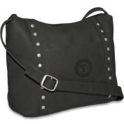 MLB Black Leather Women's Top Zip Handbag