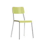 Office Hippo Café Kitchen Wood and Metal Stacking Chair - Green