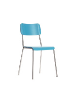 Office Hippo Café Kitchen Wooden Stacking Chair - Blue