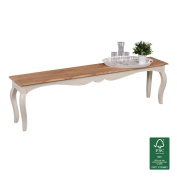 FineBuy Vintage dining Bank massive 160 x 45 x 35 cm | Contemporary bench Solid wood Mango | Opium kitchen bench rectangular in Whitewood | Solid wood bench with 4 legs - French country style