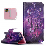 iPod Touch 6 Case,iPod Touch 5 Case,Wallet Case for iPod Touch 5 6th,ikasus Beautiful Art Painted Pattern Flip PU Leather Fold Wallet Pouch Case Premium Leather Wallet Flip Case with Stand Credit Card ID Holders Case Cover for Apple iPod Touch 6 6th / ..