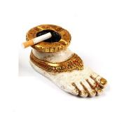 "Purpledip Handmade Resin Ashtray ""A Coy Bride"", White Beautiful Indian Decor"