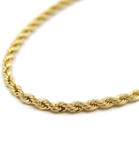 Mens 24K Yellow Gold Filled 5mm Rope Chain Necklace