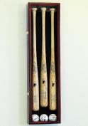 3 Baseball Bat Display Case Cabinet Holder Wall Rack w/ UV Protection - Lockable