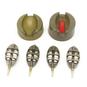 SAMS FISHING Inline Flat Method Feeder Set - 4 Feeders 15g,20g,25g,35g & 1 Mould , Extra free 1 Quick Release Mould