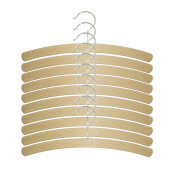 H & L Russel Crescent Hanger with Silver Hook, Beech Wood, Beige, Pack of 10