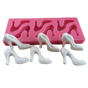 LYNCH 3D High-Heeled Shoes Shaped Soap Silicone Fondant Cake Mould Baking Tools,Pink