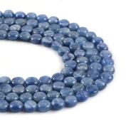 "Natural Gemstone Kyanite 8mm Coin Disc Loose Beads 16"""