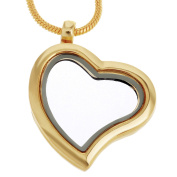 RUBYCA Living Memory Heart Locket Snake Chain Necklace Crystal Floating Charm DIY Gold Tone 10Pcs