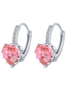 New Arrival Platinum Plated 9 Colour Stones Heart Shape Stud Earring for Party n Gift