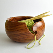 Polystone Deluxe Hand Crafted Yarn Storage Bowl | Crochet & Knitting Accessories | Nagina International (Natural Wood, Small