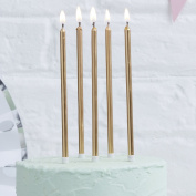 Ginger Ray Gold Metallic Tall Birthday Cake Designer Candles 24 pack - Pick and Mix
