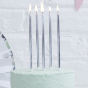 Ginger Ray Silver Metallic Tall Birthday Cake Designer Candles 24 pack - Pick and Mix ...