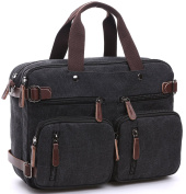 NKTM Vintage Convertible Canvas Briefcase Messenger Bag Laptop Backpack
