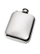 Wentworth Pewter- Plain 180ml Pewter Cushion Pocket Flask with Captive Top, Spirit Flask