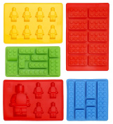 Silicone Lego Shaped Set of 5 Ice Cube Tray Moulds, Candy Moulds, Chocolate Moulds, For Kids Party's and Building Themes