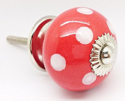 Red Polka Dot Spotted Round Ceramic Door Knob Vintage Shabby Chic Cupboard Drawer Pull Handle 4502-RD by G Decor